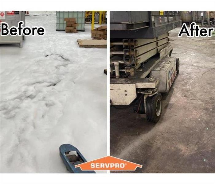 Foam on factory floor, before and after.