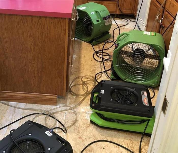 SERVPRO restoration equipment located on a residential water loss in Pacific, MO.