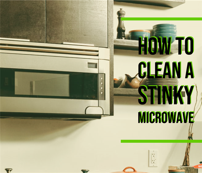 "Microwave with text ""How to Clean a Stinky Microwave"""