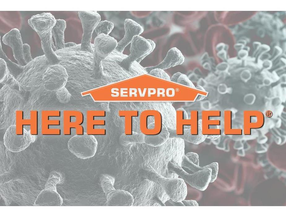 "Virus image in the background with text ""Here to Help"""