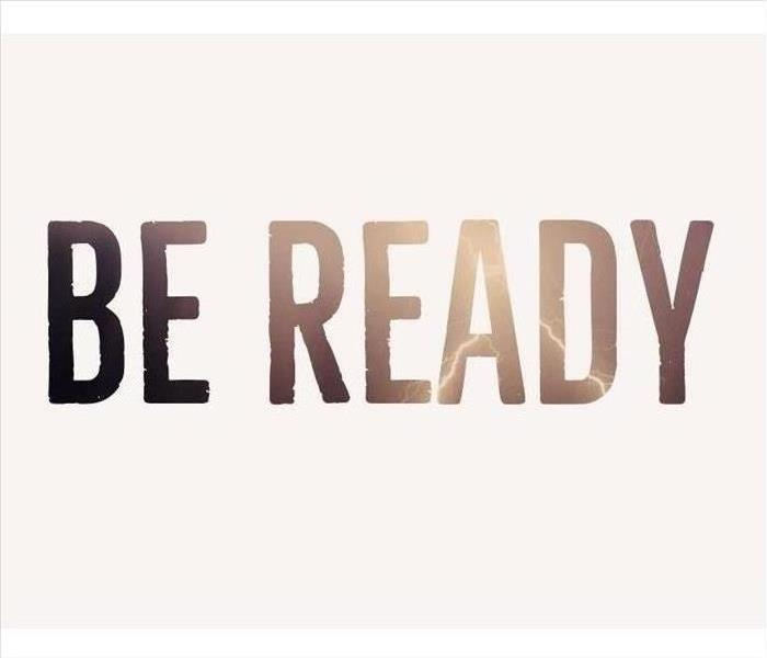 "Image with text ""Be Ready"". Inside the text, lightning and storm clouds."