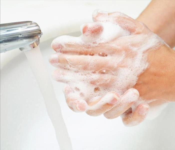 Image of hands being washed in the sink.